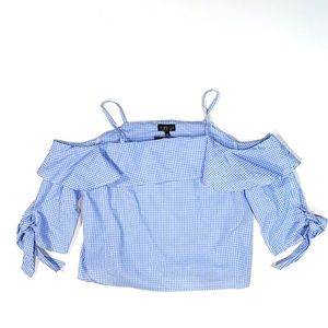 Topshop | Gingham Off-The-Shoulder Ruffle Top